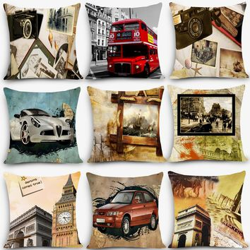 High quality Retro scenic Paris london high quality Print Home Decorative Pillow Vintage Cotton Linen Square Pillowcase MYJ-D1