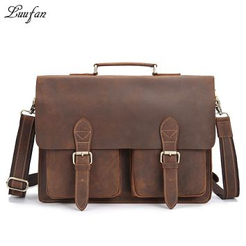 Men's Vintage genuine leather laptop bag Cow leather business bag crazy horse leather briefcase high quality work tote