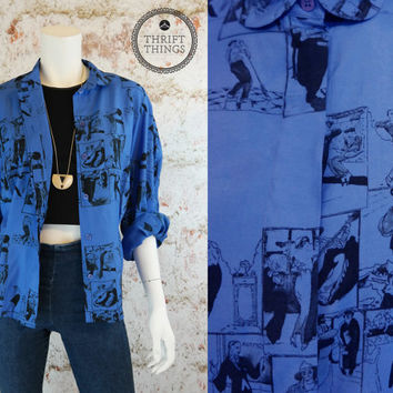 Vintage 80s Blue Button Down Collared Hipster Shirt Button Up Grunge Unique Artistic Retro Open Oversized Blouse Print Small Medium Large