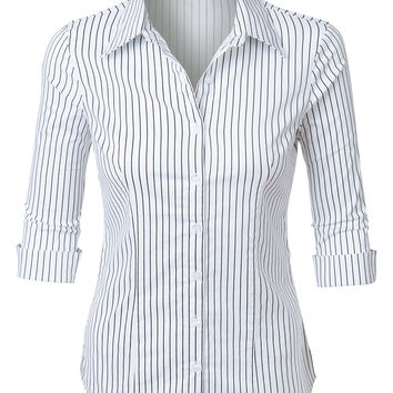 LE3NO Womens Striped Button Down 3/4 Sleeve Tailored Shirt