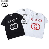 GUCCI 2018 summer new classic double G printing round neck loose short-sleeved T-shirt