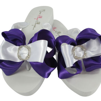Purple Bridal Infinity Bling Flip Flops in Ivory or White Bows