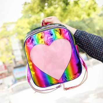 50pcs/lot Hologram Rainbow Laser Backpack Silver Transparent Love Backpack Teenager Girls School Bag Women Leather Backpack