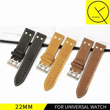 22mm Calf Genuine Leather Watch Band For Hamilton KHAKI FIELD for KHAKI AVIATION for Breitling for Universal Watches Strap Men