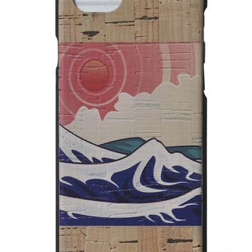 Wood iPhone 7/8 Case - Izu Printed Cork iPhone Case by Reveal Shop - Natural Eco-friendly Cork Wood Exterior w/ Japanese Print for Apple iPhone 7/8 (Japanese Print, 7/8)