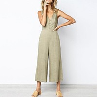 Solid White Tank Shoulder Women Jumpsuits Rompers Wide Leg Casual Button Long Jumpsuits Beach Rompers