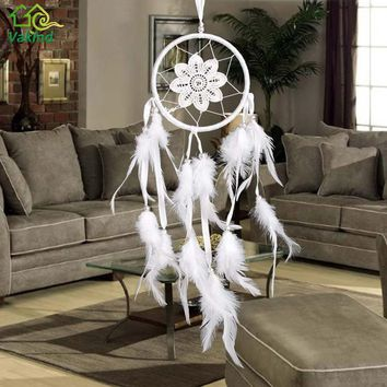 Dream Catcher with White Feather Dreamcatcher Bead Beautiful Home Hanging Decoration Fashion Handmade Ornament Gift