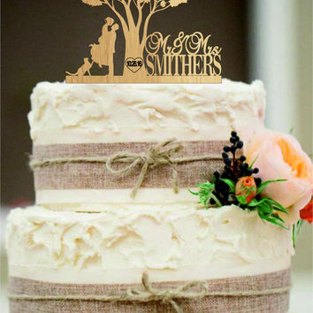 Rustic Wedding Cake Topper - Custom Wedding Cake Topper - Personalized Monogram Cake Topper - Mr and Mrs Cake Topper - Bride and Groom a cat