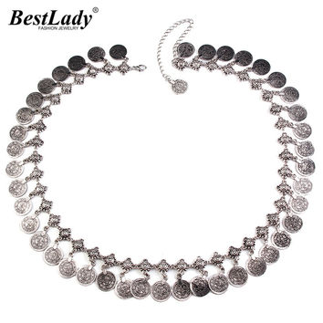 Best lady Gypsy Silver Color Metal Dangle Hippie Boho Flower Turkish Bohemian Shimmy Belt Dance Body Chain Coins Belly 9619