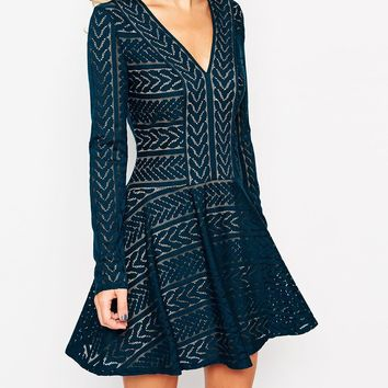 BCBG Max Azria Lace Longsleeve Flare Hem Dress in Dark Teal