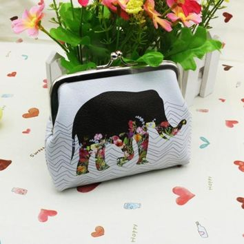 Pretty Elephant Pattern Wallet Card Holder Coin Purse