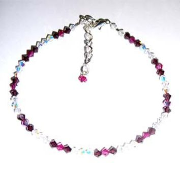 Mauve, Pink And Crystal Ankle Bracelet