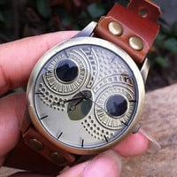 Retro style watch,cute owl wrist watch bracelet, Brown Leather Bracelet  Watch, Handmade Women's Watch, Men's wristwatch   PB057