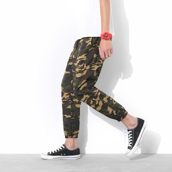 2017 Mens Jogger Spring Harem Pants 5XL Camouflage Military Skinny Casual Pants Loose Camo Cargo slim fit pants Plus Size