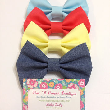 BOW PACK - 4 Bows Per Pack - Denim Bow, Yellow Bow, Coral Bow, and Light Blue Bow