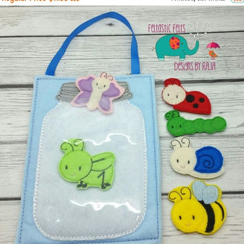 On Sale 15% Off Bug jar play set, felt board game toy embroidered, pretend pet, quiet game busy board busy book travel, flannel board, mason