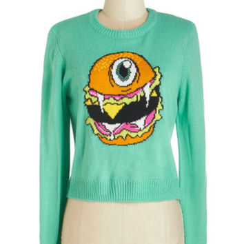 Long Sleeve Flying Burger People Eater Sweater