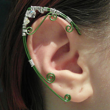 Elf Ear Cuffs - Green with Silver Accents -  Elven Jewelry