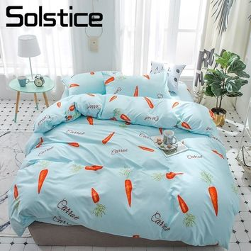 Solstice Home Textile Single Double King 3-4Pcs Bedding Set Carrot Blue Duvet Cover Flat Sheets Pillowcase Girl Boy Kid Bedlinen
