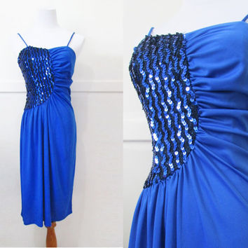 Vintage 80's Dress Black and Blue Sequin Formal Dress S