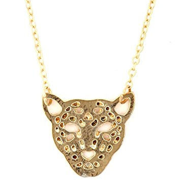 Leopard Necklace Spotted Safari Cat African Gold Tone Pendant NU42 Fashion Jewelry