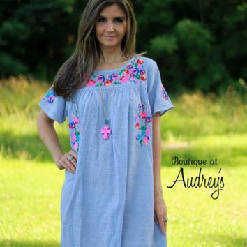Blue Pinstripe Dress with Colorful Embroidered Flowers - Boutique At Audrey's