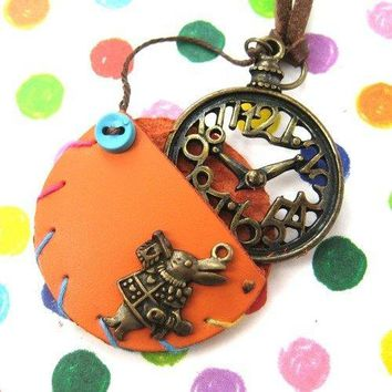 Alice in Wonderland Inspired Pocket Watch Pendant Necklace in Orange