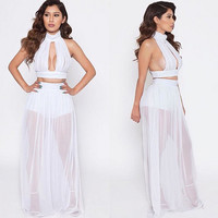 2016 Summer Chiffon Beach Dress women Halter Tops Sets Club Sexy Voile Dress Party Clothing boho Maxi Dress Vestidos