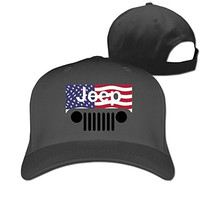 Cool Jeep American Flag Logo Fashion Peaked Cricket Cap Hat Truckers Black
