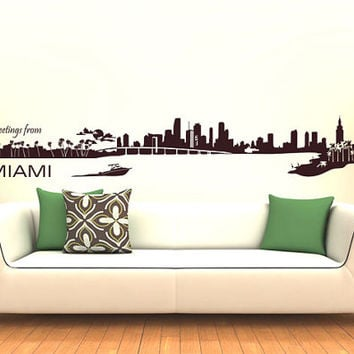 Wall Vinyl Sticker Decals Decor Art Bedroom Design Mural MiAmi Skyline Town City (z983)