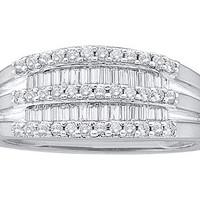 Round Diamond Ladies Fashion Ring in 14k White Gold 0.49 ctw