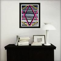 Abstract art print for home decor. Geometric print from original abstract painting with pink and yellow.