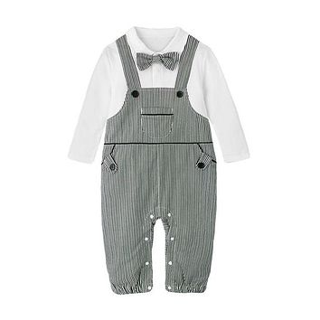 Baby Boy Rompers Cotton Bow Tie Gentleman Party Clothing Toddler Prince Costume Infant Jumpsuits Newborn Boys Clothes