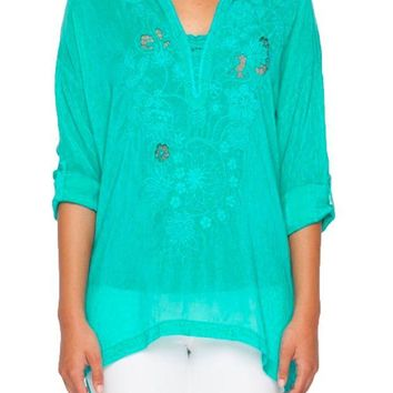 LMFYW3 Johnny Was Women's Lusana Tropical Embroidered Blouse