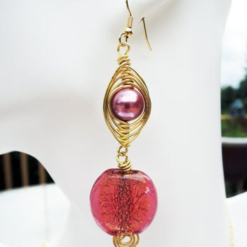 Stunning Gold Wire Wrapped Pink Pearls and Pink and Gold Glass Lampwork Beaded Dangle Earrings - Herringbone Wire Wrapped Technique