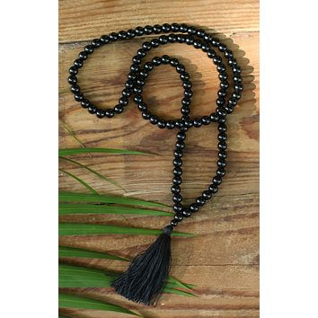 Black Onyx Buddhist Mala Beads Necklace with Black Tassels