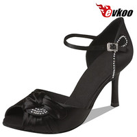 Evkoo Salsa Shoes Black Woman Shoes Satin With Diamond  8.3cm High Heel Latin Shoes Evkoo-080
