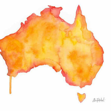 Land Down Under - Print of original watercolor illustration by Lexi Rajkowski, Home decor, Art print, Australia