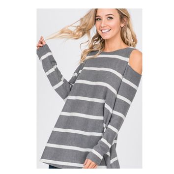 Cozy Me, Cold Open Shoulder Striped Sweater Top