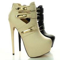 Sherman10 Black Pu By Liliana, Platform Strappy Stiletto Heel Pumps
