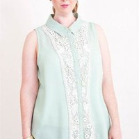 Dainty Day Lace Inset Sleeveless Turn Collar Blouse in Mint | Sincerely Sweet Boutique