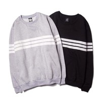 Stripes Long Sleeve Pullover Slim Men Stylish Fashion Hoodies [9070629891]