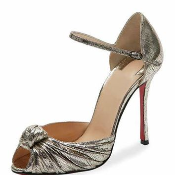 Christian Louboutin Marchavekel Knotted dOrsay Red Sole Pump, Gold