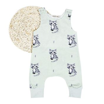 Newborn Unisex Baby Girl Boy Sleeveless O-neck Romper with Lovely Cat Pattern Print Shoulder Buckled Soft Cotton Playsuit