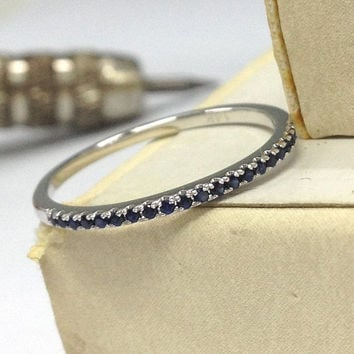 Sapphire Wedding Ring 14K White Gold,V prongs,Round Cut Blue Sapphires,Half Eternity Matching Band,Anniversary Rings,Stackable,Fashion Fine
