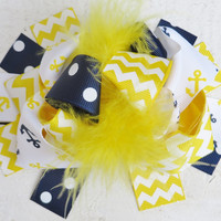 Anchor Navy Yellow Feather Bow Clip