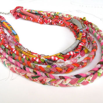 fabric necklace, multistrand necklace, colourful fabric necklace, braided into a neck ornament.