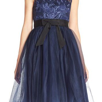 Women's Donna Morgan 'Aileen' Embroidered Illusion Party Dress,