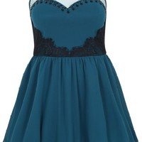 Plus Size Womens Teal Mesh Yoke Lace Detail Sleeveless Skater Prom Dress