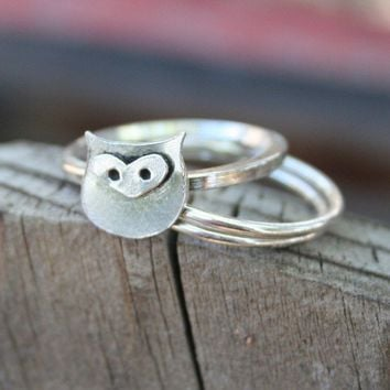 Owl Sterling Silver Stacking Ring Graduation  Made to by thenay